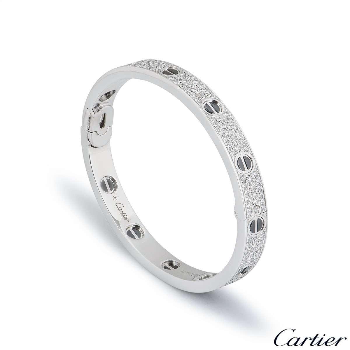 Cartier White Gold Pave Diamond & Ceramic Love Bracelet Size 16 N6032416